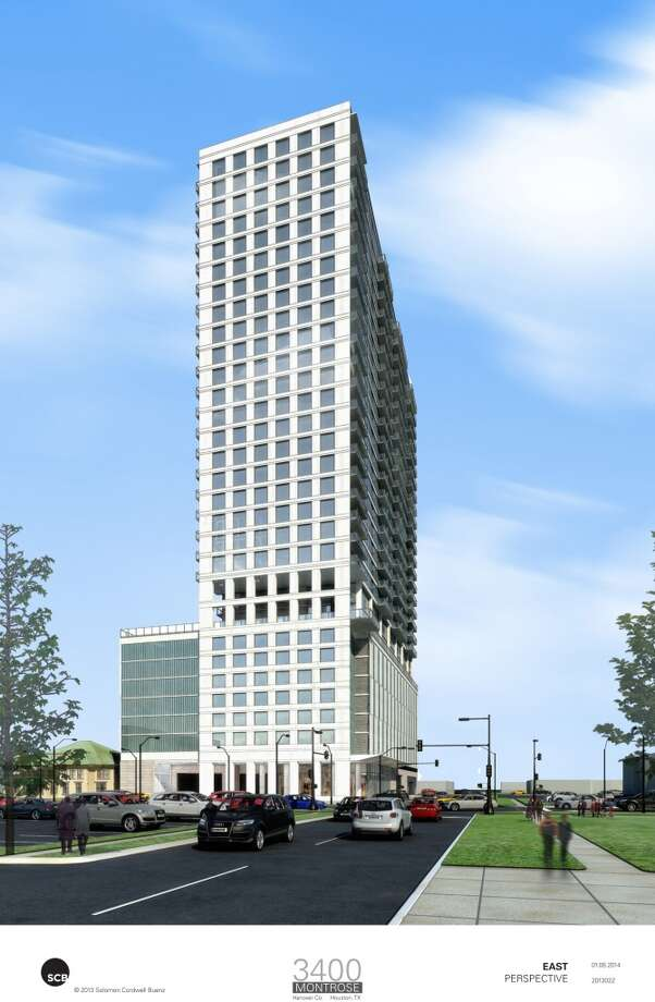 Rendering of Hanover Co. residential tower on Montrose Blvd. Photo: Hanover Company