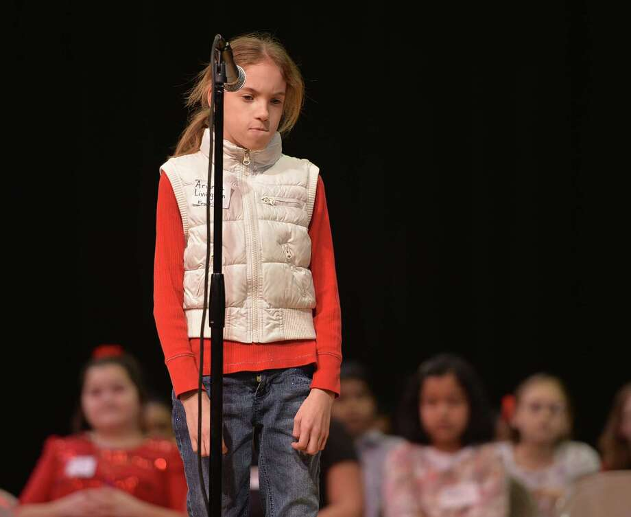 Arianna Livingston of FDR Elementary School is stumped by the word piracy Wednesday morning, Jan. 15, 2014, during the Schenectady City School District Elementary Spelling Bee at Schenectady High School in Schenectady, N.Y.  (Skip Dickstein / Times Union) Photo: Skip Dickstein / 00025369A