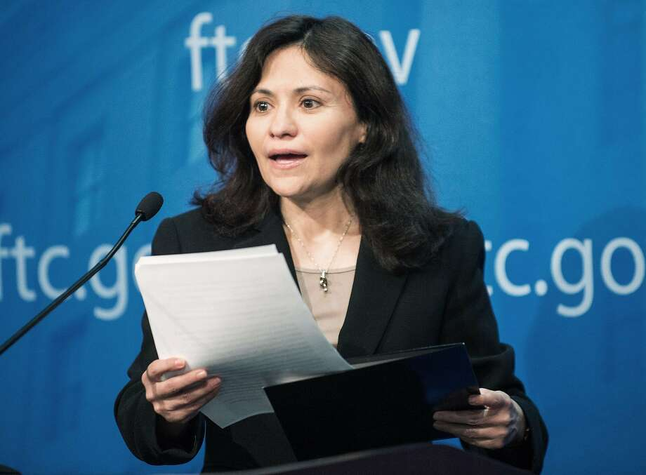 """Consumers should not have to sacrifice basic consumer protections to enjoy the benefits of mobile technology,"" FTC Chairwoman Edith Ramirez said at her news conference. Photo: Paul J. Richards, AFP/Getty Images"