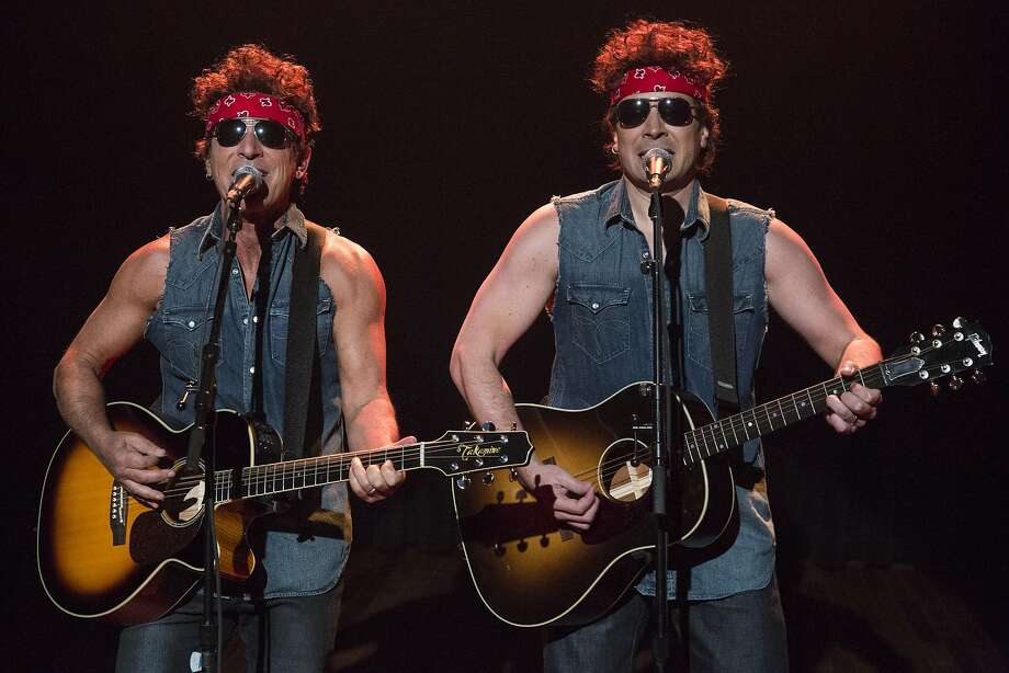 "Scorn in the USA:Bruce Springsteen and Jimmy Fallon perform ""Governor Christie Traffic Jam"" to the tune of ""Born to Run"" during ""Late Night with Jimmy Fallon."" Photo: Lloyd Bishop, Associated Press"