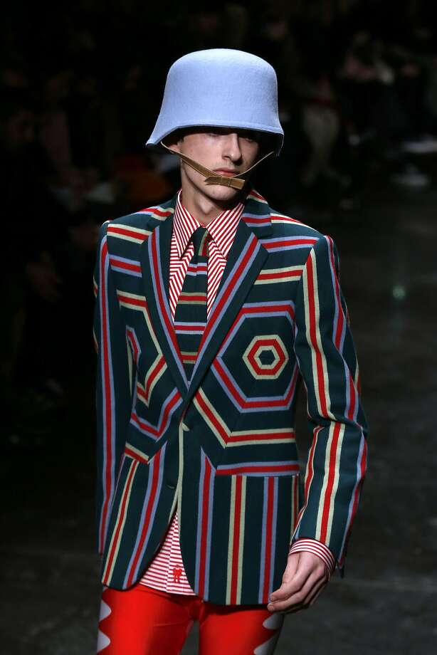 Vee haff vays of mecking you look ridiculous: The Stahlhelm, the German World War II army helmet, apparently inspired  Belgian designer Walter Van Beirendonck for this outfit at the Fall/Winter 2014/2015 men's fashion show in Paris. Photo: Francois Guillot, AFP/Getty Images