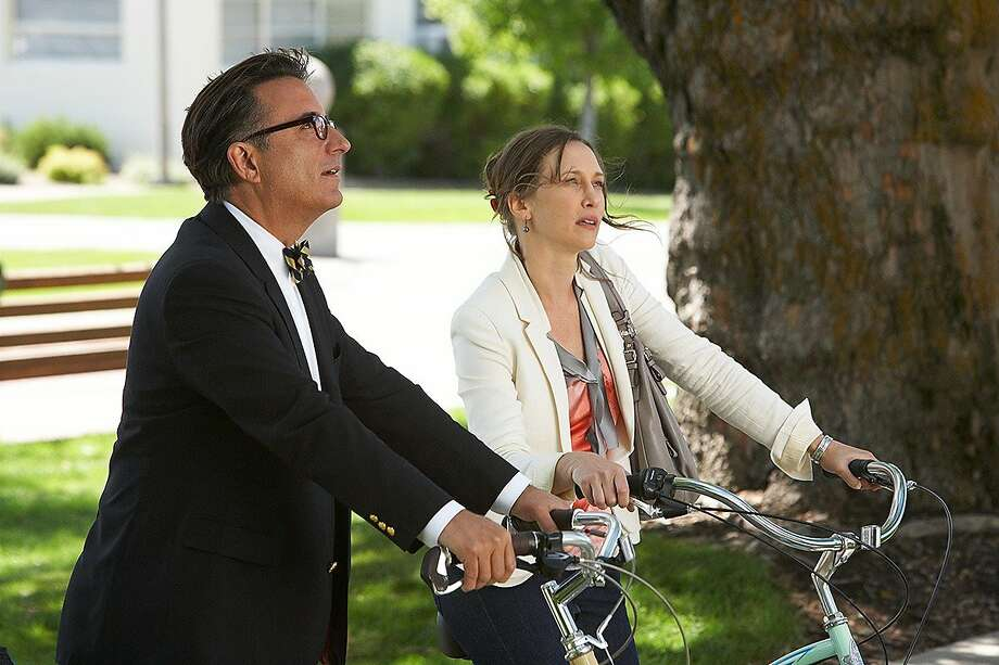 "Vera Farmiga and Andy Garcia in ""At Middleton,"" about two people who fall in love while taking their kids on a college tour. Photo: Anchor Bay Films"