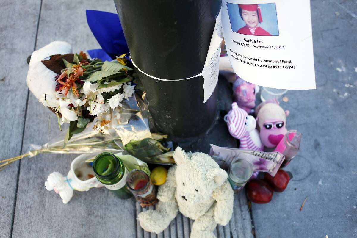Mourners have created a makeshift memorial for Sophia Liu at the corner of Polk and Ellis streets on January 15, 2014 in San Francisco, Calif. Sophia Liu, 6, was killed, and two people were injured at the intersection on New Year's Eve.