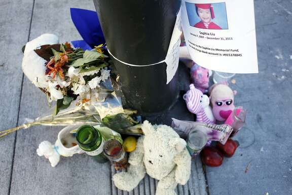 Mourners have created a makeshift memorial for Sofia Liu at the corner of Polk and Ellis streets on January 15, 2014 in San Francisco, Calif. Sofia Liu, 6, was killed, and two people were injured at the intersection on New Year's Eve. Since New Year's Eve there has been a spate of pedestrian fatalities in San Francisco.