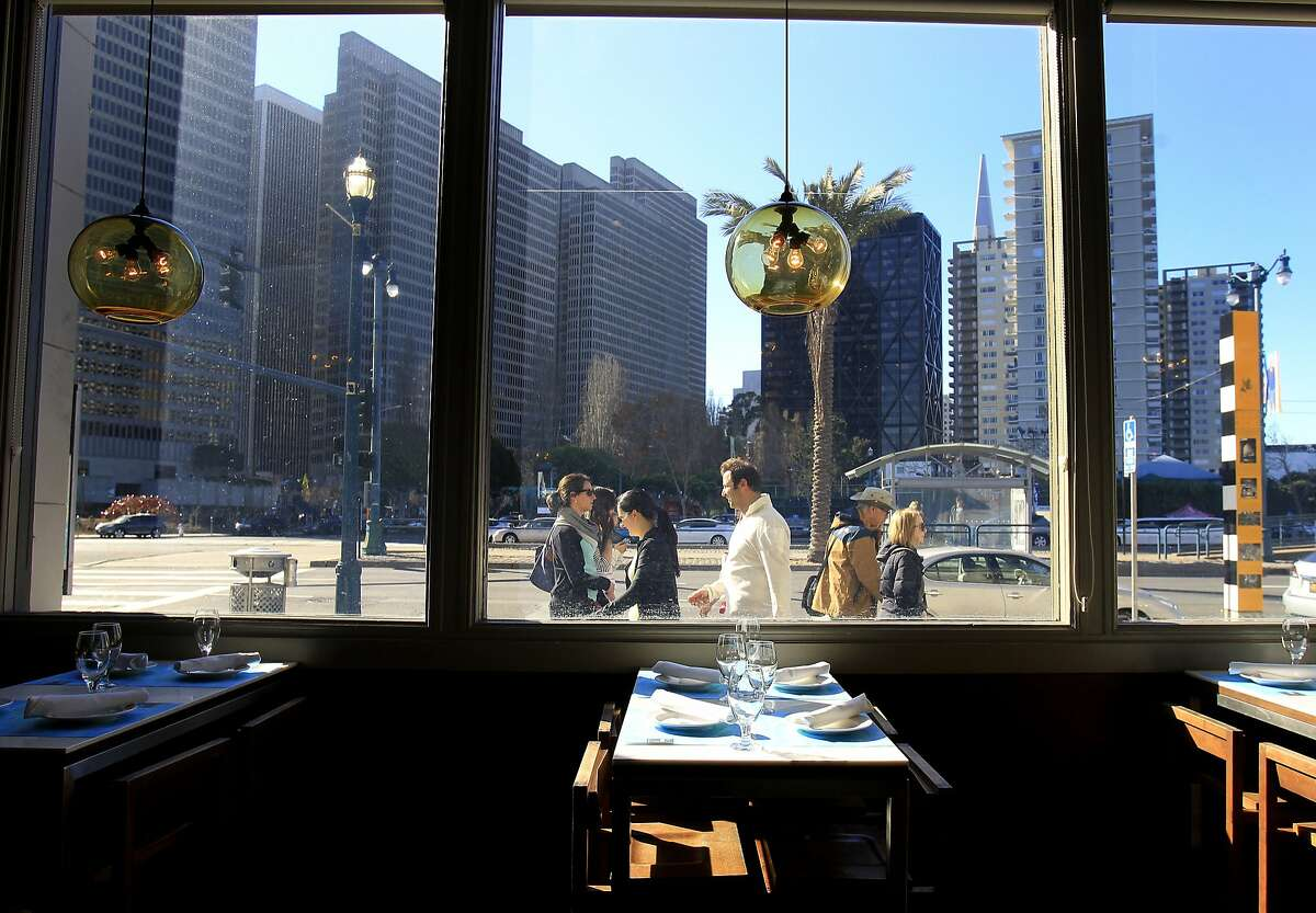 A view from the bar area looking out at the Embarcadero Sunday January 5, 2014 in San Francisco, Calif. La Mar Cebicheria Peruana is located near the ferry building with views of the bay and the Embarcadero.