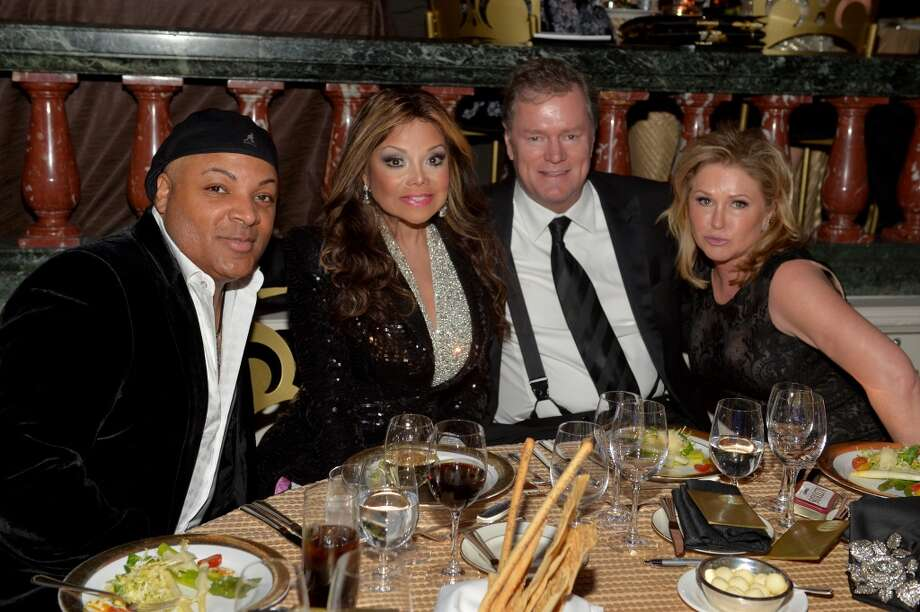 (2nd from L-R) La Toya Jackson, Rick Hilton and Kathy Hilton attend the 2014 UNICEF Ball presented by Baccarat at the Beverly Wilshire Four Seasons Hotel on January 14, 2014 in Beverly Hills, California. Photo: Charley Gallay, Getty Images For UNICEF