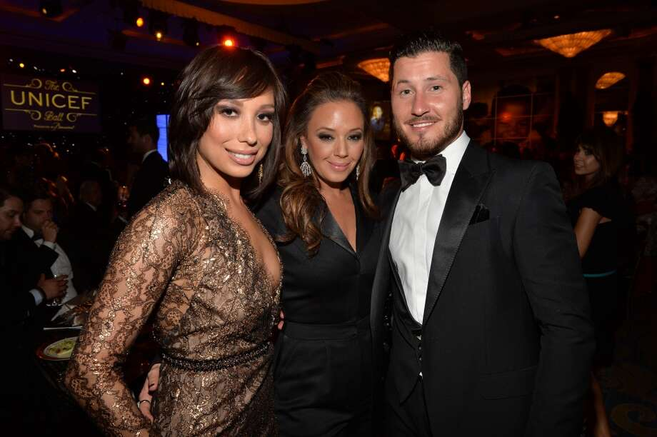 (L-R) Dancer Cheryl Burke, actress Leah Remini and dancer Val Chmerkovskiy attend the 2014 UNICEF Ball presented by Baccarat at the Beverly Wilshire Four Seasons Hotel on January 14, 2014 in Beverly Hills, California. Photo: Michael Buckner, Getty Images For UNICEF