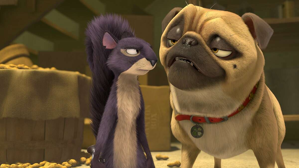 Surly (voiced by Will Arnett) and Precious the Pug (voiced by Maya Rudolph) in THE NUT JOB, opening January 17, 2014.