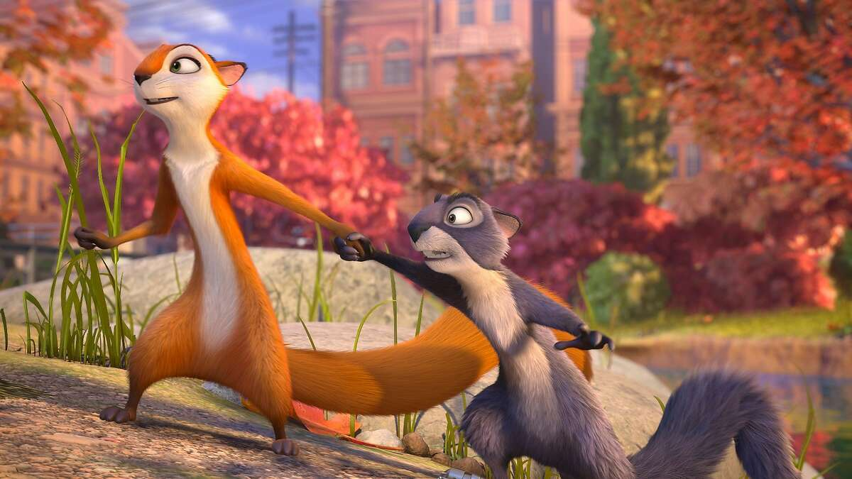Andie (voiced by Katherine Heigl) and Surly (voiced by Will Arnett) in THE NUT JOB, opening January 17, 2014.