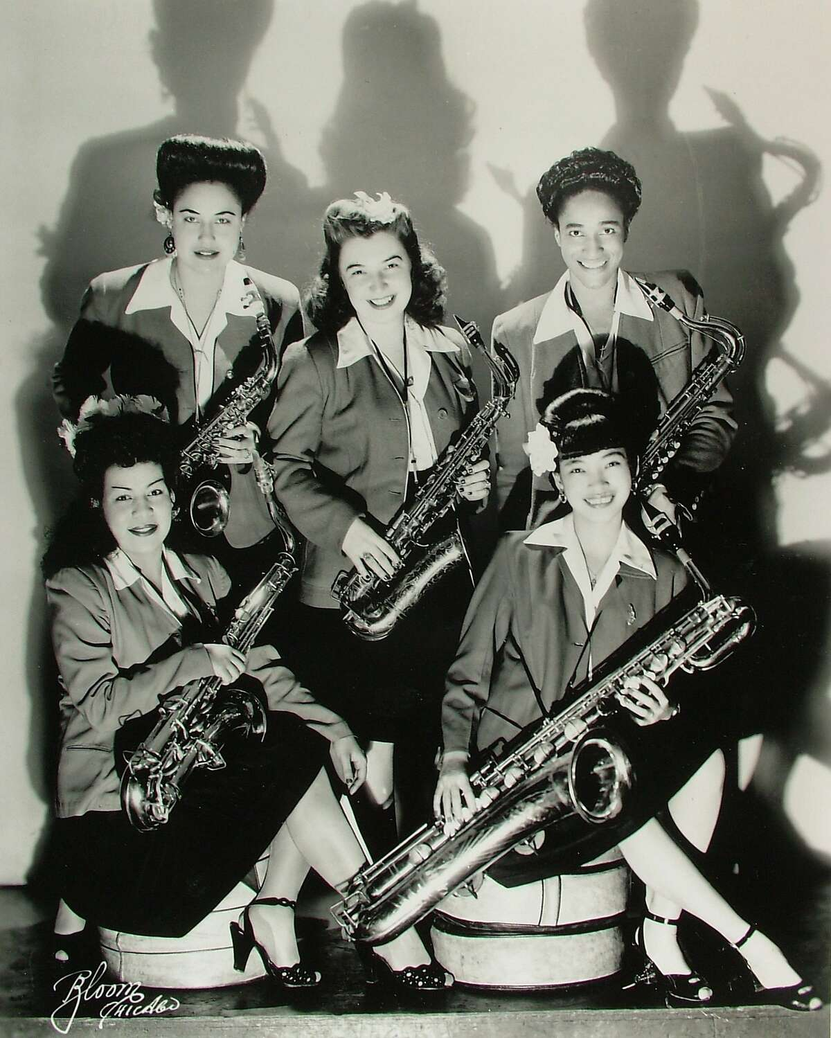 """The Sax Section of The International Sweethearts of Rhythm is seen in, """"The Girls in the Band."""""""