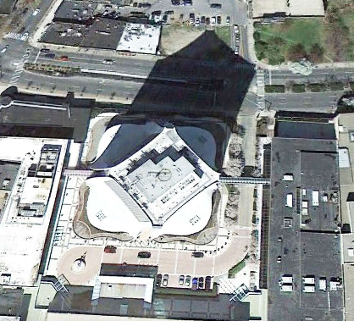 This building may look short from above but the shadow might give you a hint about its size.