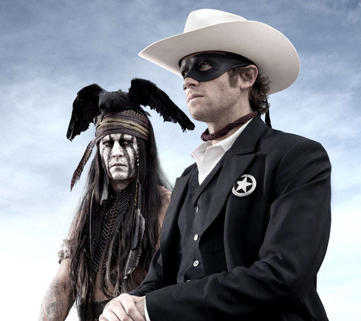 Worst picture nominee: 'The Lone Ranger' Tonto (Johnny Depp, left) had no apparent friendship with The Lone Ranger (Armie Hammer), one of many strikes against