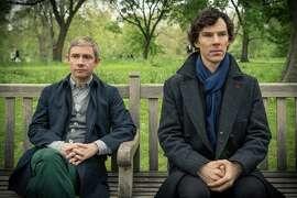 "Martin Freeman stars as John Watson and Benedict Cumberbatch as Sherlock Holmes in ""Sherlock"" on PBS' ""Masterpiece."""