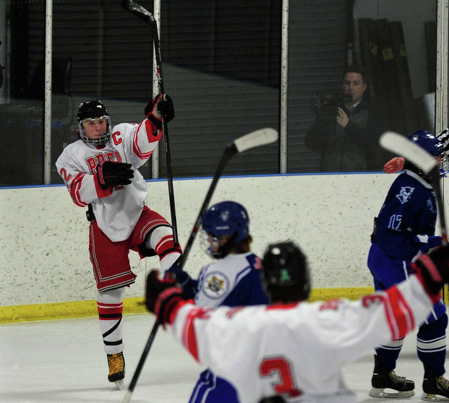 Fairfield Prep's Dean Lockery celebrates a goal, during boys hockey action against West Haven at the Wonderland of Ice in Bridgeport, Conn. on Thursday January 9, 2014. Photo: Christian Abraham / Connecticut Post