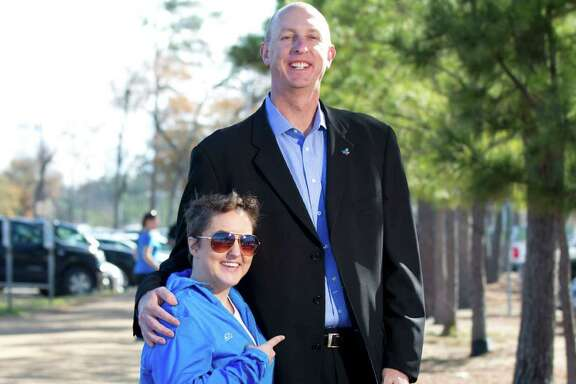 Houston radio personality Sarah Pepper, left, feels she can measure up to the task of the Aramco Half Marathon, and Wade Morehead, a friend who is the marathon committee's executive director, agrees.