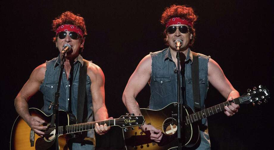 "Bruce Springsteen (left) and Jimmy Fallon perform on Tuesday's ""Late Night with Jimmy Fallon."" Photo: Lloyd Bishop / NBC / Associated Press / NBC"
