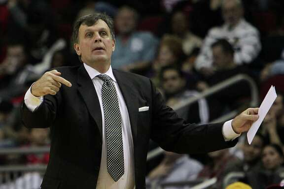 Houston Rockets head coach Kevin McHale during the first half of NBA game action against the Brooklyn Nets at the Toyota Center Friday, Nov. 29, 2013, in Houston.  ( James Nielsen / Houston Chronicle )