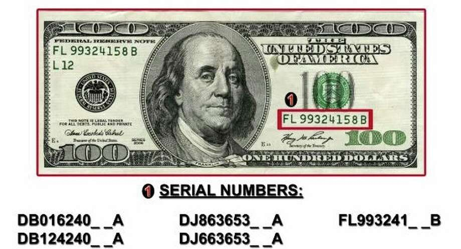 Authorities say that counterfeit $100 bill might be circulating in the Greenwich area. The fake bills have certain serial numbers on their front. Photo: Contributed, U.S. Secret Service/Greenwich Police Department