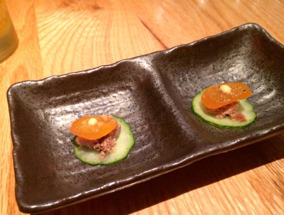 Cucumber with duck confit at Ozumo