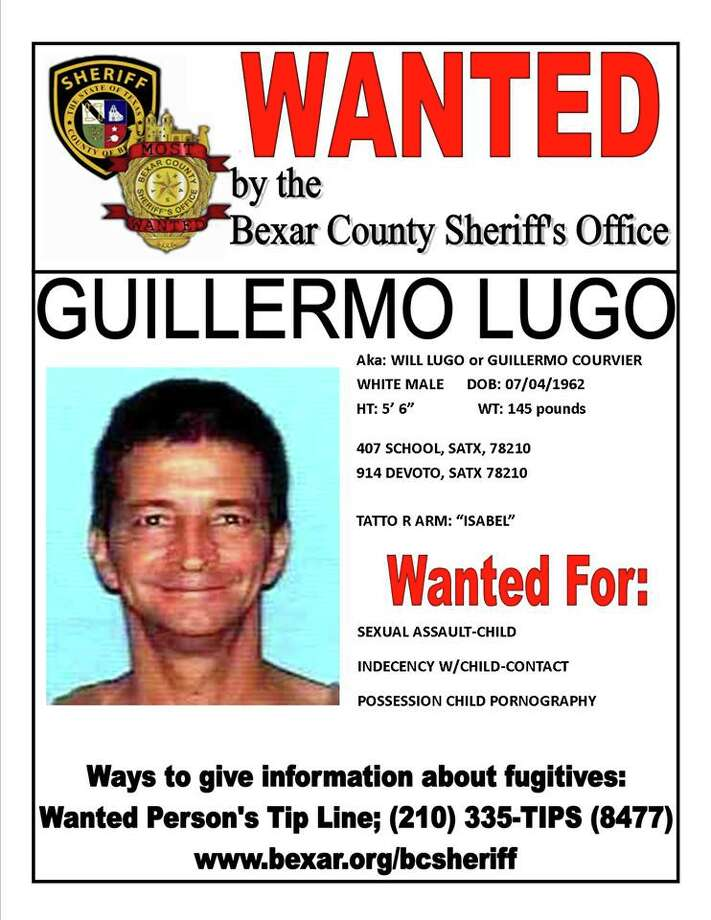 Guillermo Lugo, 51, is wanted by the Bexar County Sheriff's Office on child pornography and child sexual assault charges. Photo: Courtesy