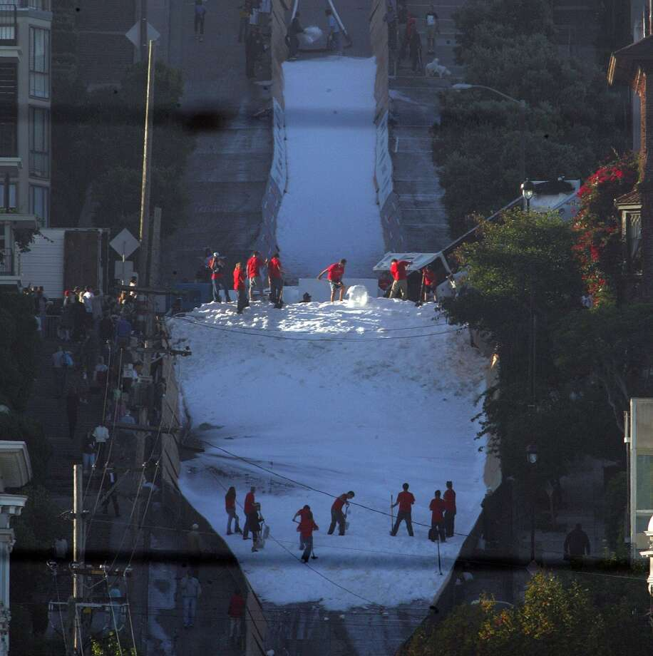 It's morning at the foot of Filmore, and the team is still building the ski jump Photo: Frederic Larson, SFC