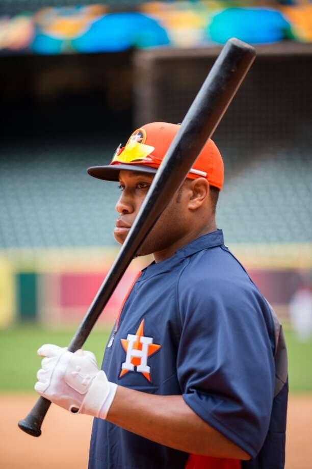 "2. Jon Singleton, 1B Bats: Left; Throws Left Drafted: 257th (8th round) overall in 2009 by Philadelphia - acquired in Hunter Pence deal Age: 22; Height: 6' 2""; Weight: 235 The top first base prospect in the league, Singleton has shown exceptional discipline at the plate drawing 59 walks in 90 minor league games in 2013. Photo: Smiley N. Pool, Houston Chronicle"