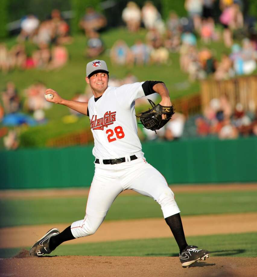 "4. Mark Appel, RHP Bats: Right; Throws: Right Drafted: 1st overall in 2013 by Houston Age: 22; Height: 6' 5""; Weight: 190 Appel only threw 38 innings - mostly with the Quad Cities River Bandits (A Full) - in his first season as a pro. The Astros are hoping he develops into a top-of-the-rotation guy. He went 3-1 in 10 starts with a 3.79 ERA while striking out 33 batters and walking only 9. Photo: Cindy Schultz, Times Union"