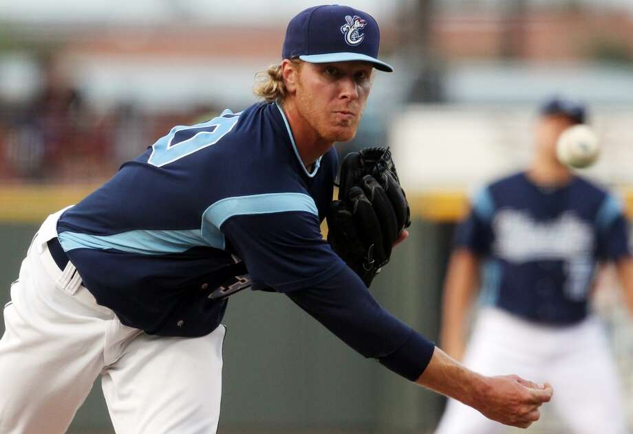 """6. Mike Foltynewicz, RHP Bats: Right; Throws: Right Drafted: 19th overall in 2010 by Houston Age: 22; Height: 6' 4""""; Weight: 200 Foltynewicz was named the South Atlantic League's Most Outstanding Pitcher after going 5-3 with a 2.87 ERA and a .207 batting average against in 16 starts with the Corpus Christi Hooks (AA). His fastball can reach the high-90s and the Astros hope he will develop into a key piece of their rotation. Photo: Michael Zamora, Corpus Christi Caller Times"""