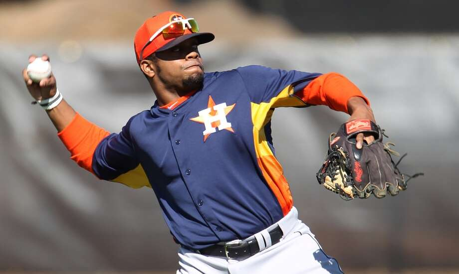 "7. Delino DeShields Jr., 2B Bats: Right; Throws: Right Drafted: 8th overall in 2010 by Houston Age: 21; Height: 5' 9""; Weight: 205 DeShields Jr. can hit for average and can really move on the bases. He stole 101 bases in 2012 and became more disciplined at the plate. A move to center field is not out of the question if DeShields Jr. can't crack the lineup at second. Photo: Karen Warren, Houston Chronicle"