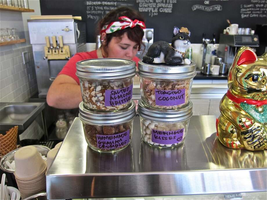 House-made ice cream toppings at Fat Cat Creamery in the Heights. Photo: Alison Cook