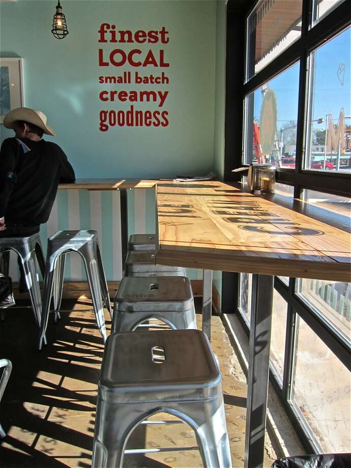 Counter seating at Fat Cat Creamery in the Heights. Photo: Alison Cook