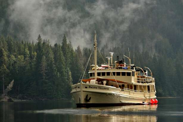 The Pacific Yellowfin at anchor in Salmon Arm, Seymour Inlet, within the Great Bear Rainforest.