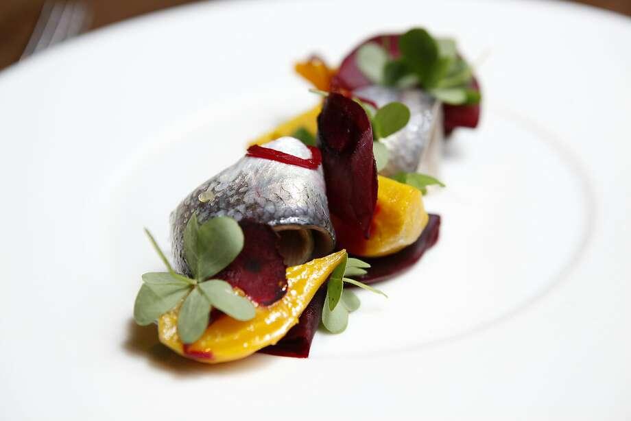 A starter of Herring with beets, grain mustard, and wood sorrel at Nico, a new restaurant on Sacramento St. in San Francisco, CA, Wednesday, January 15, 2014. Photo: Michael Short, The Chronicle