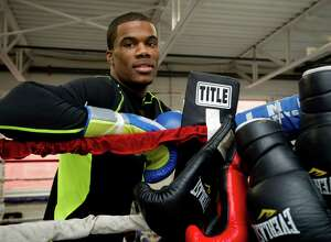 Chordale Booker poses for a photo at Revolution Fitness and Training in Stamford, Conn., on Thursday, January 16, 2014.