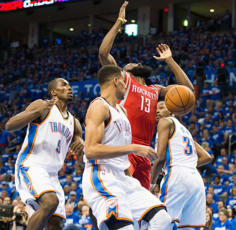 April 21, 2013 (Game 1): Thunder 120, Rockets 91 Harden's line: 20 points (6-19 from the field), 6 rebounds, 2 assists and 1 steal James Harden led the Rockets in scoring, but also jacked up 13 misses from the field - including five of his six three-pointers. The Rockets fell into an early-series deficit and it looked as if OKC was going to steamroll Houston in the series. Photo: Smiley N. Pool, Houston Chronicle