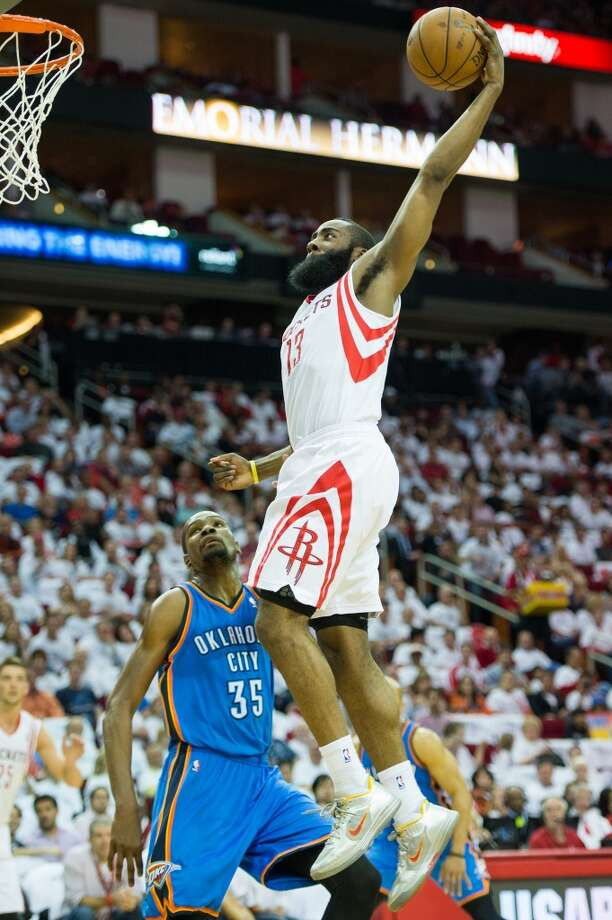 April 27, 2013 (Game 3): Thunder 104, Rockets 101 Harden's line: 30 points (9-22 from the field), 8 rebounds, 6 assists, 2 steals and 2 blocks Kevin Durant went off for 41 points and 14 rebounds in the first game OKC had to play without Russell Westbrook (injured in Game 2). Carlos Delfino missed a game-tying three-point attempt at the end of the game. Photo: Smiley N. Pool, Houston Chronicle