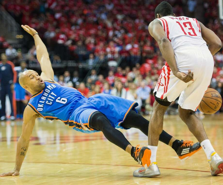 April 29, 2013 (Game 4): Rockets 105, Thunder 103 Harden's line: 15 points (4-12 from the field), 5 steals, 3 assists, 1 rebound and 1 block Five Rockets scored in double figures and Omer Asik and Chandler Parsons pulled down 24 combined  boards and the Rockets showed signs of life despite still trailing in the best-of-seven series 3-1. Photo: Smiley N. Pool, Houston Chronicle