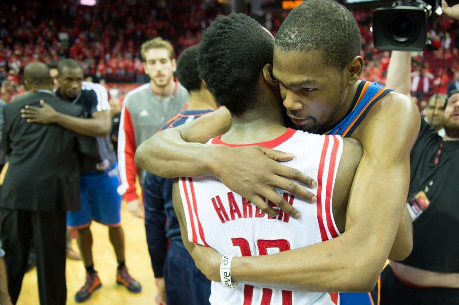 May 3, 2013 (Game 6): Thunder 103, Rockets 94 Harden's line: 26 points (7-22 from the field), 7 assists, 6 rebounds, 2 steals and 2 blocks Houston was finished off by OKC in Game 6 in Houston. James Harden did all he could for the Rockets by playing a well-balanced game, but Kevin Durant (27 points) and Kevin Martin (25 points) quietly laid the Rockets' 2012-13 season to rest. Photo: Smiley N. Pool, Houston Chronicle