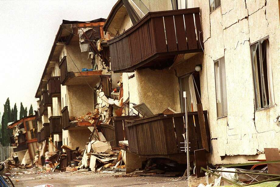 The Northridge Meadows complex where 16 people died when apartments crashed into a parking garage, had the most deaths in the 1994 earthquake. Photo: Nick Ut, AP