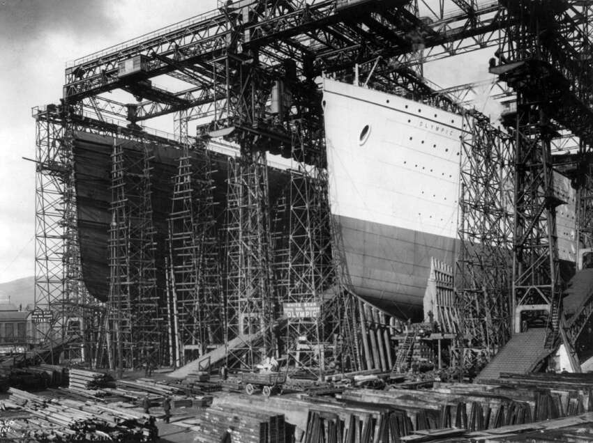 In this undated image made available by the Library of Congress the Olympic, right, and the Titanic are surrounded by scaffolding during construction in a shipyard in Belfast, Northern Ireland. April 15, 2012 was the 100th anniversary of the sinking of the Titanic, just five days after it left Southampton on its maiden voyage to New York.