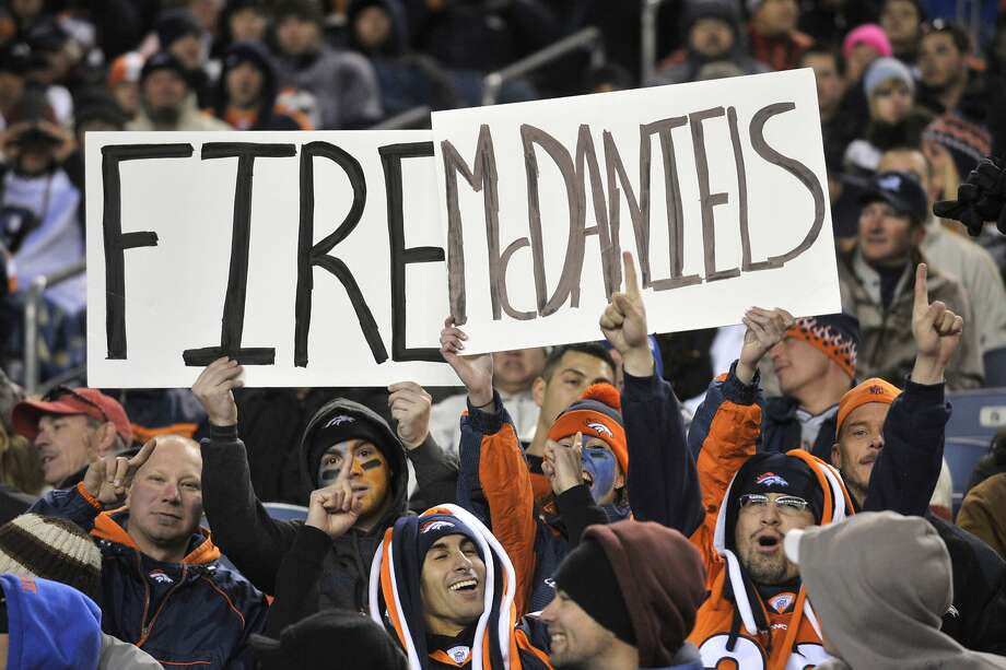 Broncos fans turned on McDaniels quickly during a rocky season in Denver in 2010. Photo: Joe Mahoney, AP