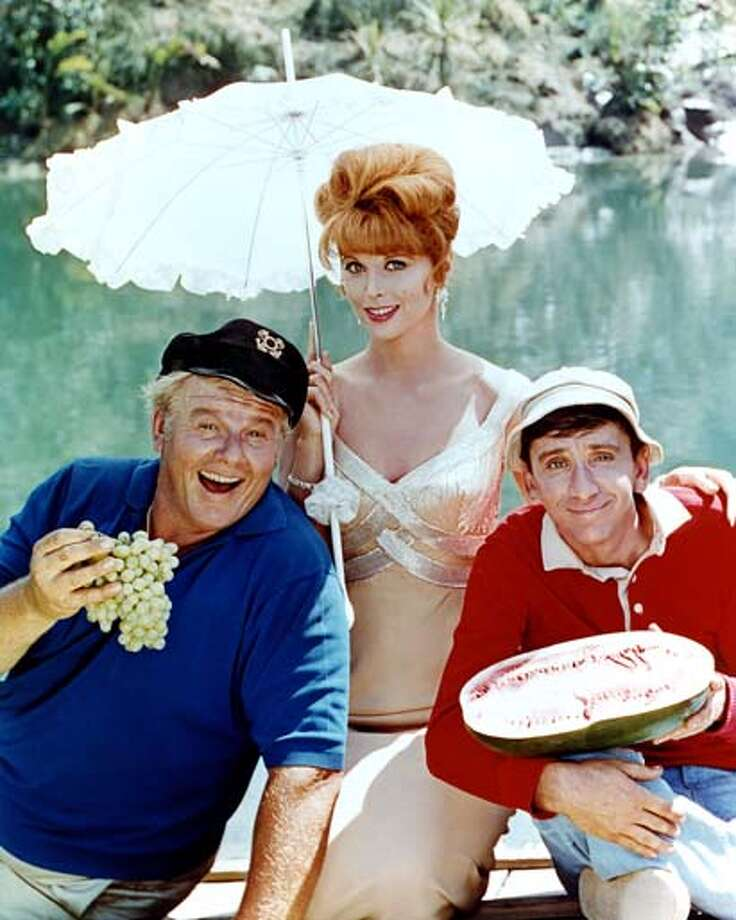From left to right, Alan Hale Jr. (1921 - 1990) as The Skipper, Tina Louise as Ginger Grant and Bob Denver (1935 - 2005) as Gilligan in the television series 'Gilligan's Island', circa 1964. Photo: Silver Screen Collection, Getty Images / 2007 Getty Images