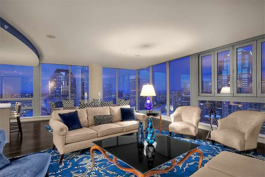 Living room of 1521 2nd Ave., Unit 3801. It's listed for $4.25 million. Photo: Courtesy Scott Richards, Windermere Real Estate