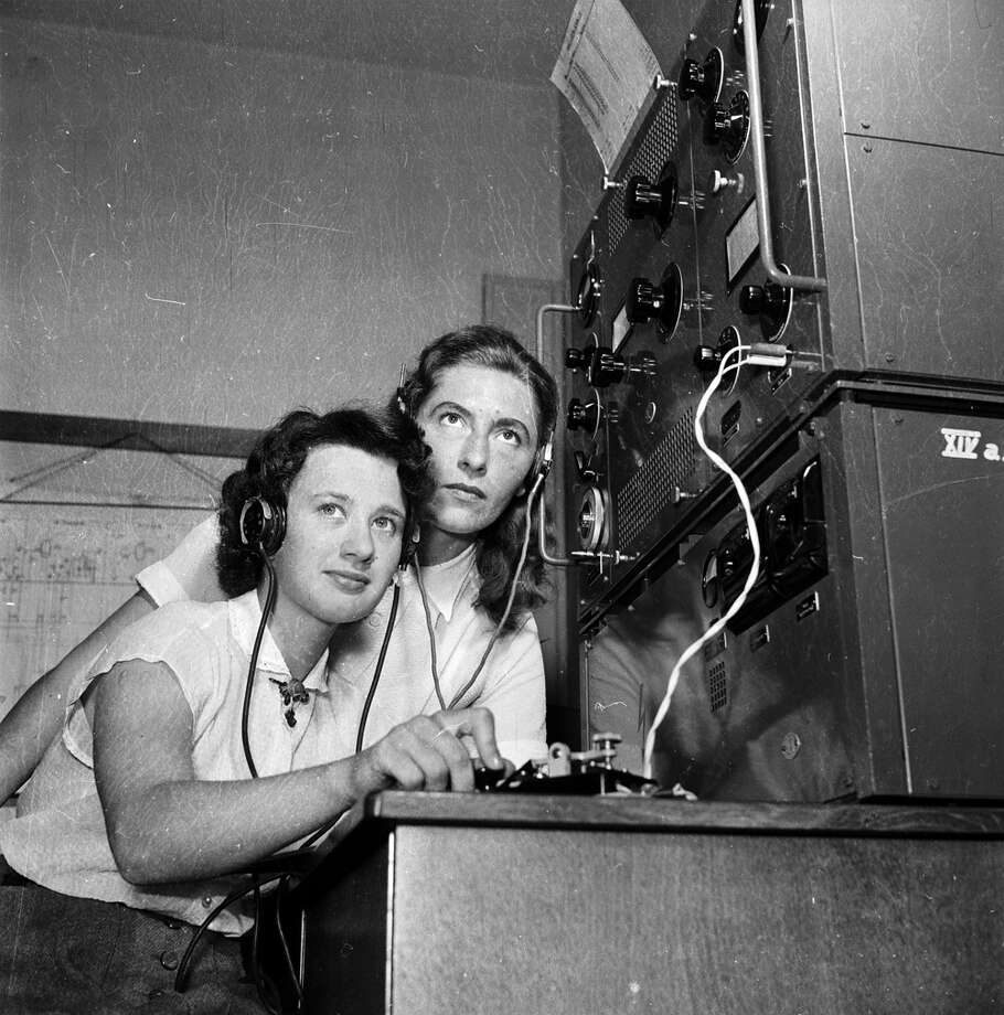TeleGRAPH? Don't you mean telePHONE? PHOTO: Maritime radio operators are trained at navigation schools in Hamburg and Bremen for work on German merchant fleet ships, circa 1956. Photo: Meyer Pfundt/Hulton Archive, Getty Images