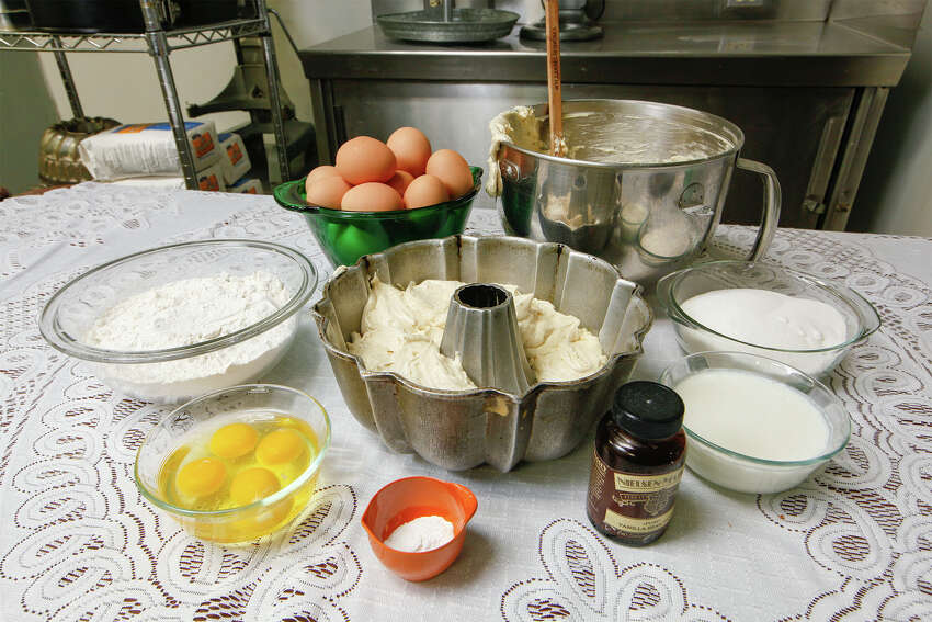 3. Overestimate your use of staples such as flour, sugar, butter and eggs. You might taste a new recipe and decide you need another batch or two.PHOTO: Ingredients that go into Di-Anna Arias's grandmothers's pound cake at the Don Strange of Texas headquarters (Clockwise from right): Sugar, buttermilk, vanilla bean paste, baking powder, baking soda and salt, eggs and flour.