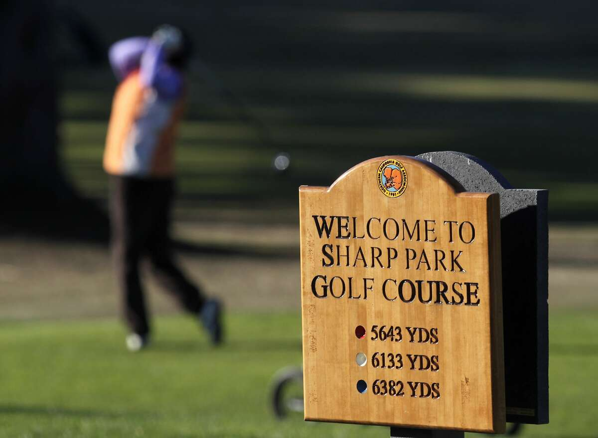 A golfer starts a round on the 1st hole at Sharp Park Golf Course in Pacifica, Calif. on Thursday, Jan. 16, 2014. Proposed improvements to a pump house and a cart path at the San Francisco city owned course worry environmentalists.