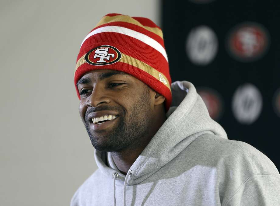 San Francisco 49ers Michael Crabtree smiles during a media conference before an NFL football practice in Santa Clara, Calif., Thursday, Jan. 16, 2014. The 49ers are scheduled to play the Seattle Seahawks for the NFC championship on Sunday. (AP Photo/Ben Margot) Photo: Ben Margot, Associated Press