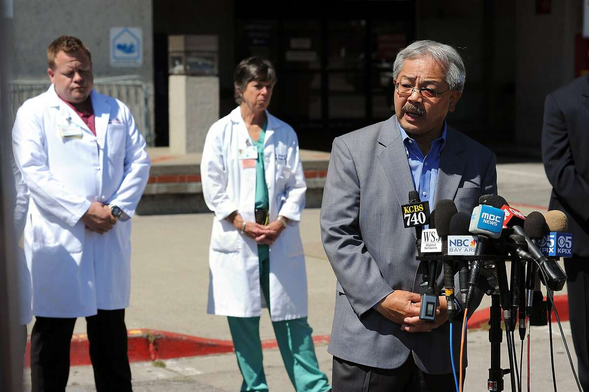 SF Mayor Ed Lee speaks during a press briefing about patients from Asiana flight 214 at San Francisco General Hospital in San Francisco, CA Sunday July 7th, 2013.