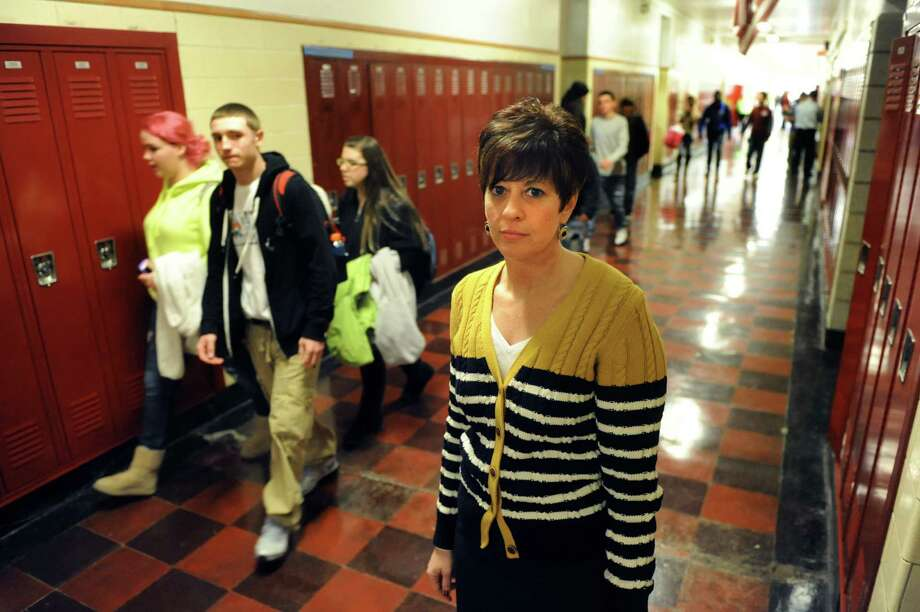 Watervliet Superintendent Lori Caplan in the hallway between classes on Thursday, Jan. 16, 2014, at Watervliet High in Watervliet, N.Y. Watervliet is the most fiscally stressed school in the entire state. (Cindy Schultz / Times Union) Photo: Cindy Schultz / 00025391A