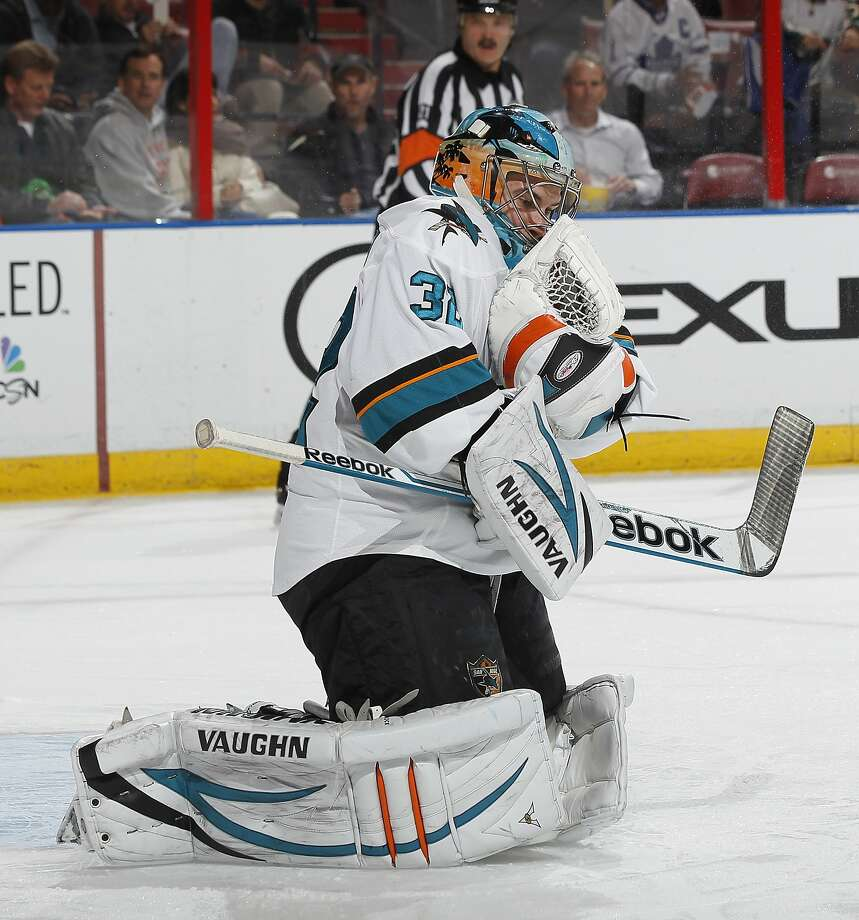 "Sharks goaltender Alex Stalock made 24 saves for his first career shutout, calling it ""pretty special."" Photo: Joel Auerbach, Getty Images"